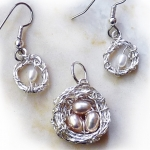 Silver-Filled Nest With Pearls and Matching Earrings