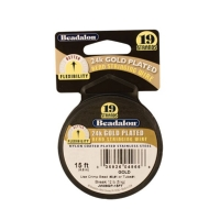 Beadalon 19 Strand Plated Bead Stringing Wire, Gold Plated, .015 Inch, 15 Feet||BDC-752.15