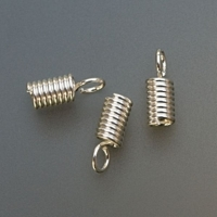 Silver Plated Spring Cord End Cord Fasteners, 3 Millimeter, Pack of 144||BDS-323.06